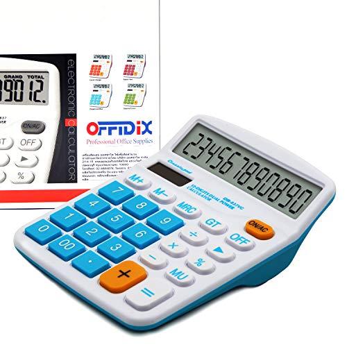 OFFIDIX Office Desktop Rechner, Solar und Akku Dual Power Elektronischer Taschenrechner Portable 12 Digit Große LCD Display Taschenrechner Blau
