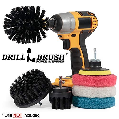 Drillbrush - Grill-Zubehör - Grill Pinsel und Reinigungsmittel - Strom Scrub Drill Brush - Reinigungsbürste - Blau Reinigungspads - Drill-Bürste-Pads - Badezimmer Reinigung - Dusche Reiniger