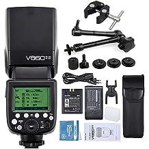 Godox V860II-S Flash Incorporado 2.4G GN60 1/8000 HSS TTL Cámara Speedlite Flash con Li-on Batería (1.5S Reciclaje Tiempo 650 Full Power)+11 Inch Brazo Mágico + Grande Super Pinza+ Flash Difusor Softbox para Sony HVL-F60M, HVL-F43M, HVL-F32M Cameras