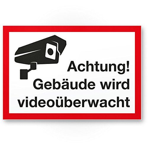 Gebäude Videoüberwacht Kunststoff Schild (30 x 20 cm) - Achtung/Vorsicht Videoüberwachung - Hinweis/Hinweisschild Videoüberwacht - Warnschild/Warnhinweis