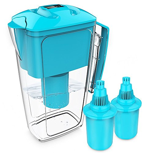 OXA Smart Cool Alkaline Wasserfilter, Wasserfilterkrug, mit 2langlebigen Filterkartuschen, 2,5l Fassungsvermögen, BPA-frei, Blau (Chloramin Entfernung)