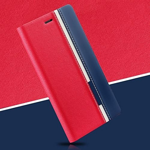 Febelo (TM) Customised New Design Video Stand View Perfect Fitting Flip Cover Case for Lenovo Vibe K5 Note / Lenovo K5 Note 5.5 Inch - Red Blue Color