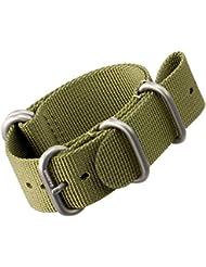 Bracelet de montre en nylon par ZULUDIVER®, Boucles ZULU brossées, Vert, 22mm