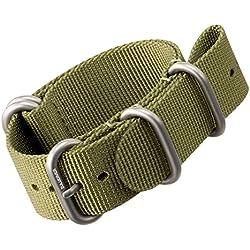 Nylon Watch Strap by ZULUDIVER®, Brushed ZULU Buckles, Green, 20mm