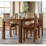 #9: LifeEstyle Handcrafted Sheesham Wood Dining Set with 4 Chairs without Cushion (Honey Medium)