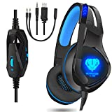 Dxnbikt Gaming Headset für Xbox One PC PS4 Mac Noise Isolation Gaming Kopfhörer mit Mikrofon (Blau)
