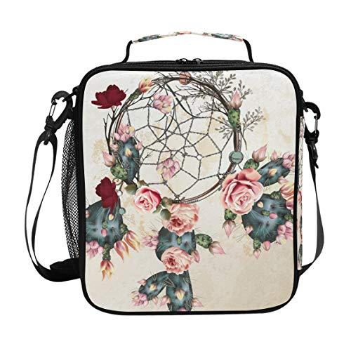 CPYang Bolsa de almuerzo aislada bolsa de hombro atrapasueños flor cactus lonchera bolsa enfriadora con correa de hombro para mujeres y hombres