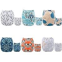 Bebé de tabla para diseño de juego de pajas DE se puede lavar a juego de bolsillos de almacenaje de tela impermeable y 6 piezas + bolsa de pañales de 12Inserts