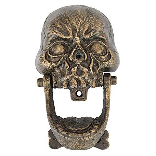 Design Toscano Skull Totenschädel-Türklopfer: Mittel, cast Iron, Bronze, 5 x 11.5 x 19 cm