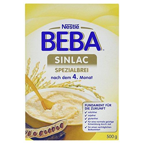 Soja-babynahrung (Nestlé BEBA Milchbrei, SINLAC, Spezialbrei, nach dem 4. Monat, Milchbrei zum Anrühren, 500 g Faltschachtel)