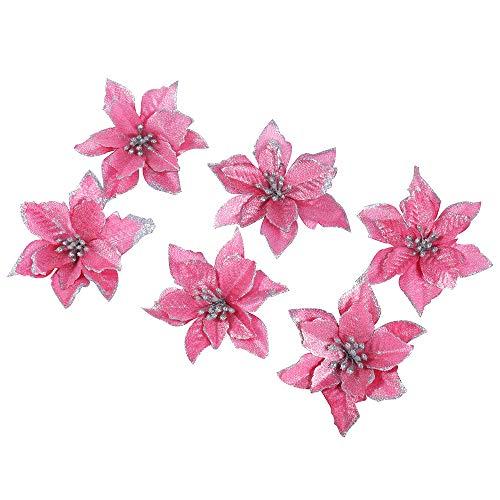 6 pezzi scintillare fiori artificiali per la decorazione, addobbi albero di natale, luccichio, rosa poinsettia, 13cm(5.1