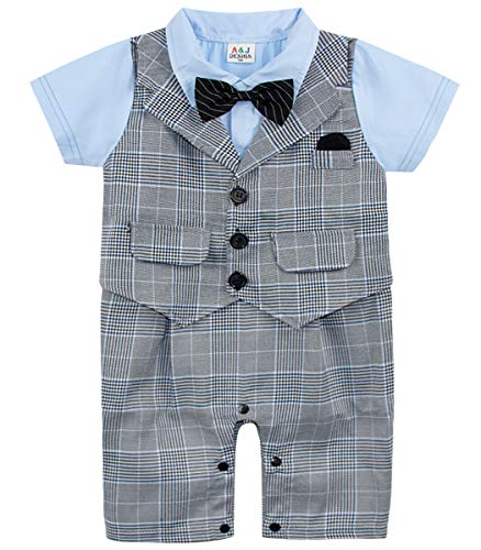 A&J DESIGN Infant Baptism Tuxedo Wedding Outfit Set Party Bodysuit (Gray-1, 9-12 Months) - Tuxedo Bodysuit
