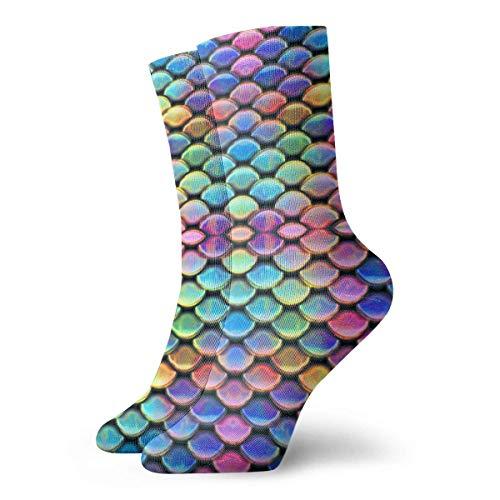 Zhengzho Socken atmungsaktive Schuppen ~ Meerjungfrau ~ helle Crew Socke exotische moderne Frauen & Männer gedruckt Sport athletische Socken 30 cm (11,8 Zoll) - Frauen Athletische Socken