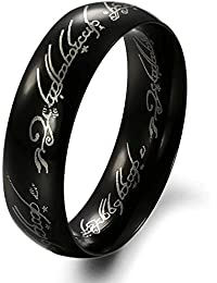 Moneekar Jewels High Quality Mens Wide 6mm Black & Silver Lord Of The Rings Stainless Steel Wedding Engagement...
