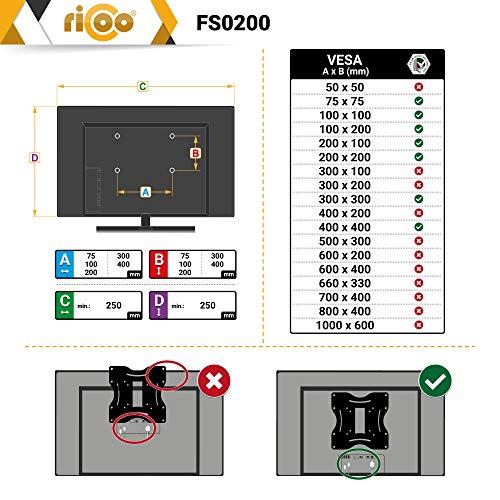 RICOO LCD TV Ständer Standfuss Glas Standfuß Halterung Neigbar FS0200 Schwenkbar Drehbar mit Rollen Höhenverstellbar LED Fernseher Stand Möbel Rack VESA 400×400 Universal inkl. DVD Receiver Glas Regal - 6