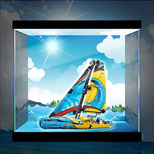 TETAKE Display Case Vitrine avec Lumière pour Lego Technic Yacht de compétition - 42074 (Modèle Non Incluse)