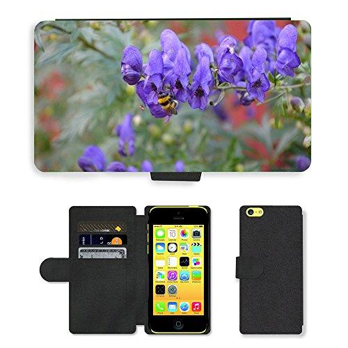 Just Mobile pour Hot Style Téléphone portable étui portefeuille en cuir PU avec fente pour carte//m00139415Fleurs Abeille Paysage insectes//Apple iPhone 5C