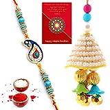 Traditional Villa Designer Ethnic Bhaiya Bhabhi Special Rakhi Gift Set Rakhi For Bhaiya Bhabhi And Rakhi For Bhaiya Bhabhi Combo And Rakhi Gifts For Brother Rakhi Set Free Shipping+Roli+Chawal+Greeting Card !!-2Bbs428