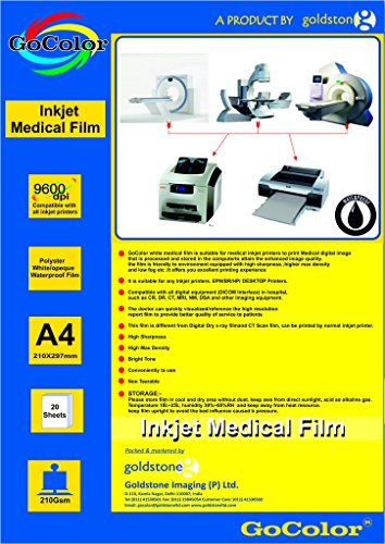 GoColor Inkjet Medical White Translucent Film A4 Size x 20 Sheets for DR/CR/MRI/CT Imaging Waterproof Film A4 20 Sheet 150 Micron