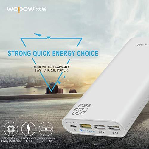 Lorenlli Fit Wopow P20Q Universal Quick Charge 3.0 Große Akkukapazität 20000mAh Power Bank DREI USB-Ladeanschluss Tragbares Ladegerät