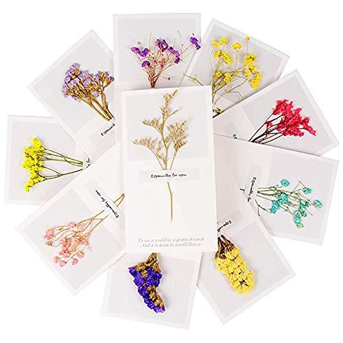 Bbacb Weihnachtskarten, getrocknete Blumen, universal, Erntedank, Segen, Grußkarte, Geburtstag, Party, Einladung, personalisierbar, 10 Stück