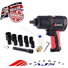 "STRONG 1200Nm Max Air Impact Wrench 885 ft-lb 1/2"" SQ Drive Wheel + Case Nuts"