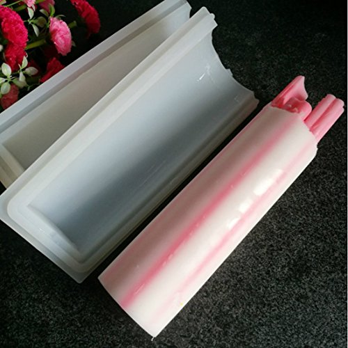 Justfund 1000ml Round Tube Column Silicone Soap/Candle Cake Mold Embed Soap Making Supplies Tool Dia. 2.8inch