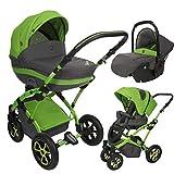 Lux4Kids Kinderwagen 3in1 Megaset Buggy Autositz Babyschale Isofix Tambi Grey Green AT2 2in1 ohne Autositz