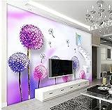 Weaeo Benutzerdefinierte 3D-Foto Tapete Zimmer Wandbild Vliestapete Lila Löwenzahn Schmetterling Malerei Tv Hintergrund Wand 3D Wallpaper-120X100Cm