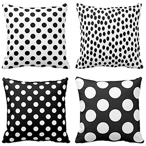 Pillo Fall (FENSIN 4PC Super Soft schwarz weiße Punkte und verstreut große Pillo Kissenbezug 18 x 18 Zoll)