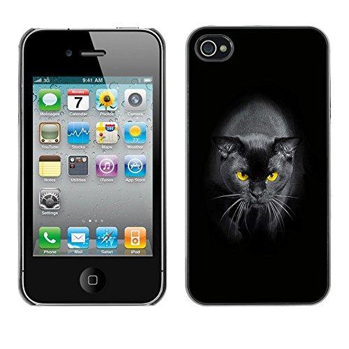 TopCaseStore / caoutchouc Hard Case Housse de protection la Peau - Black Siamese Cat Yellow Eyes Panther - Apple iPhone 4 / 4S