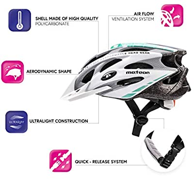 Meteor® Bike Bicycle Cycle Helmet MV29 Drizzle: Mens & Youths Bike Cycling Helmet for Cycling, Inline Skate/BMX Bike/Scooter for Hover Board. Developed for the safety of the tiniest User: The Helmet Circuit Certificate – 89/686/EEC and has a continu