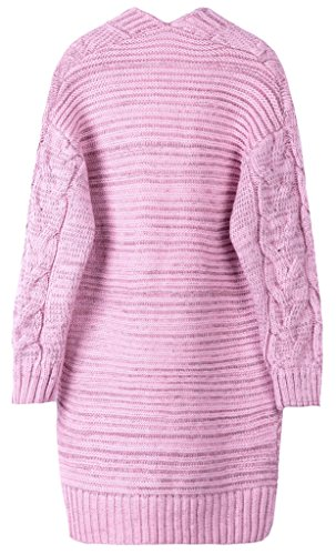 Vogueearth Femme's Longue Manche Knit pocket Cardigan Sweater Chandail Tricots Rose
