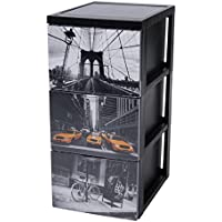 Iris Ohyama 140024scf-303estilo Chest Torre de almacenaje 3cajones sobre ruedas plástico negro 39x 29x 61,5cm
