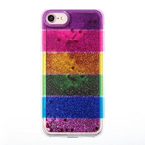 "iPhone 8 4.7"" Case, iPhone 8 Gliter Case, Edaroo [Rainbow Liquid Glitter] [Colorful Quicksand] Cute Creative Flowing Liquid Floating Glitter Bling Rubber Case for Apple iPhone 7(4.7 inch) / iPhone 8(4 Stripe #4"