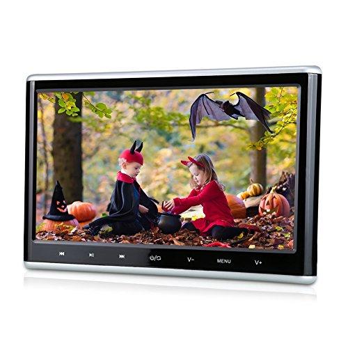 Pumpkin 10,1 Pouce Appuie Tête Ecran Lecteur DVD Voiture Résolution 1024 x 600 Soutient HDMI 1080P Vidéo USB SD 32 Bits Jeux avec Adaptateur pour Utilisation à la Maison (A)