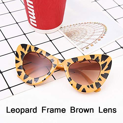 HUWAIYUNDONG Sonnenbrillen,Fashion Big Frame Sunglasses Women Classic Leopard Patter Cat Eye Glasses Femle Travel Leopard Yellow