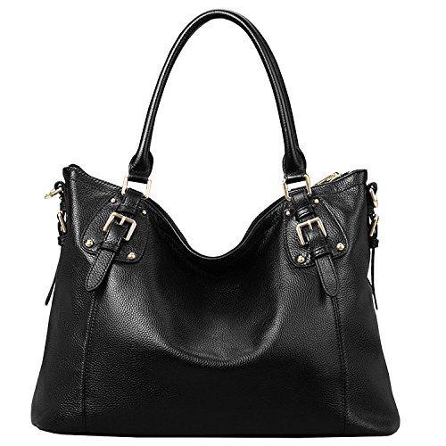 Azbro Women's Elegant Genuine Leather Shoulder Bags Top-Handle Handbags, Brown S Black