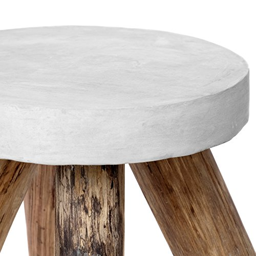 Round Coffee Table Natural Wood: Vintage Side Table Teak Wood Concrete Stone Round Wood