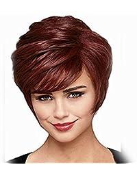 Moda pelucas vino cómoda peluca roja del pelo recto de alambre de alta temperatura redecilla