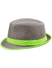 EOZY Unisexe Chapeau Panama Boater en Lin avec Ruban Noué Bicolore Eté (Vert)