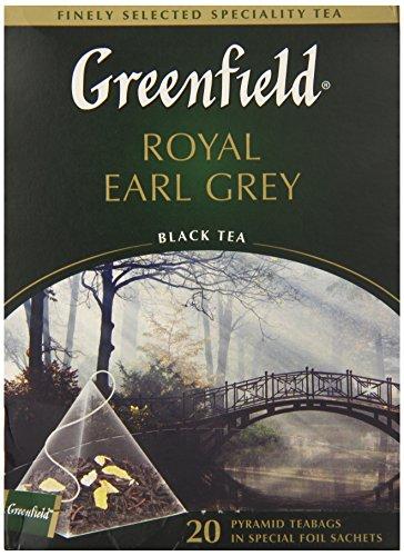 Greenfield Schwarztee Royal Earl Grey Bergamotte 2er Pack (2 x 20 Pyramidenbeutel) Tee black Pyramid Tea