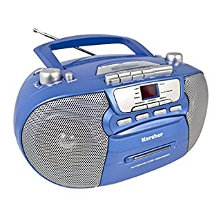 Karcher RR 5040 Oberon tragbares CD-Radio (AM/FM-Radio, CD, Kassette, AUX-In, Netz/Batteriebetrieb) blau-metallic