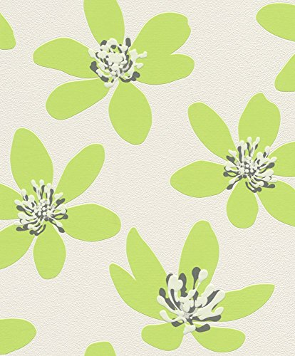 non-woven-wallpaper-with-flowers-flower-floral-green-rasch-prego-700114