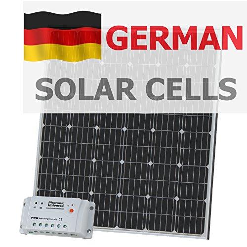 200W 12V Photonic Universe Solar Ladekabel Kit aus Deutsche Solar Zellen mit 20A Controller und 5m Kabel für 12V Batterie oder Akku Bank