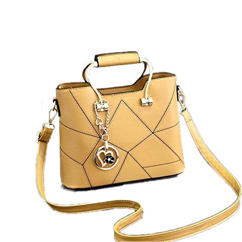 LDMB Damen-handtaschen JQAM süße Dame PU-lederner Schulter-Kurier-Handtaschen-Querschnitt geprägte Einkaufstasche Yellow