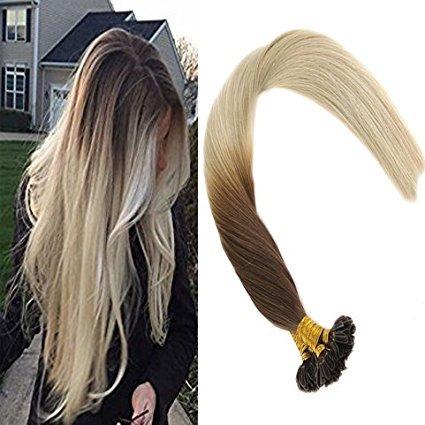 Sunny ombre capelli extension keratina veri two tone castano scuro al bionda platino 50cm 50 grammo -100% remy human hair cheratina capelli lissci