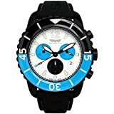 Skywatch ' 44mm Chronograph' Swiss Quartz Stainless Steel and Silicone Casual Watch, Color:Black (Model: CCI026-A)