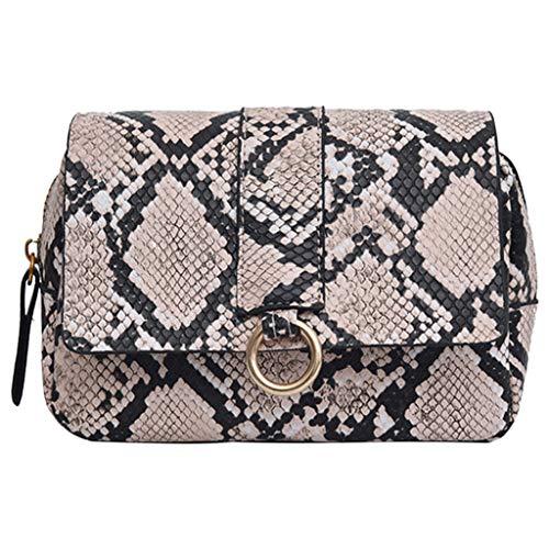 Chanel Damen Accessoires (LILIHOT Brusttasche mit diagonaler Kreuztasche der Modedame Schlangenmuster Fashion Frauen Karriere Handtasche kariert Kette Tasche Umhaengetasche Mode-Strasse Damentaschen)