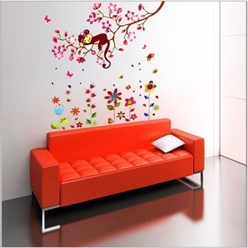 COM-colorful flower + Monkey Großer Wand Sticker Blumen AFFE Schmetterling Kinder Wandsticker Baum Papier (Colorful Tattoos Flower)